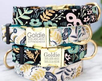 Engraved Gold Buckle Dog Collar w Rifle Paper Co. Canvas Fabric 'GOLDIE' - Personalized with 4 Colors Combos to Choose From