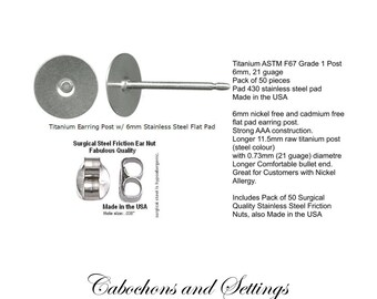 50 Titanium Post Earring Studs 6mm Surgical Steel Pad AAA Quality Made in USA  - Ships from AUSTRALIA