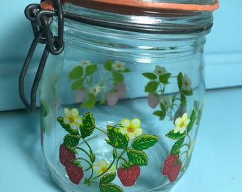 Vintage Arc Strawberry Glass Canister Container