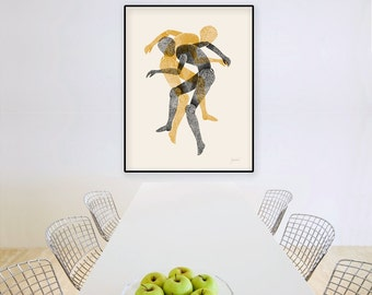 Large Wall Art, Figurative Art, Abstract Art Print, Contemporary Art, Human Figures