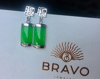 Sterling silver jade dangle earrings- Chinese jewelry- Meaningful gift- Mothers day gift idea