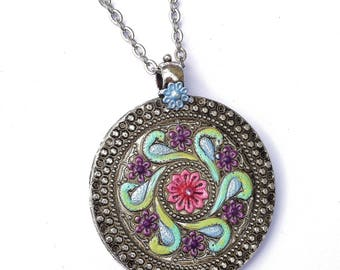 Colorful Silver Mandala Pendant Necklace Boho Bohemian Jewelry FREE SHIPPING