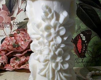 White Beeswax Raised Flower Design Pillar Candle