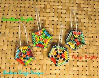 "New Geometric Design! ""Color Play"" Pentagon Drop Earrings Beading Kits"