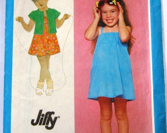 Easy Sew Little Girls Pullover Sundress and Unlined Bolero Size 5 Vintage 1980s Simplicity Pattern 9530 UNCUT