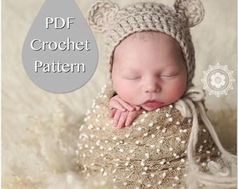 PDF Crochet Pattern #0006 for Newborn Chunky Bear Bonnet, Tutorial, Pattern, Crochet Pattern,Easy, Beginner,Newborn Prop,Instruction,Hat,Boy