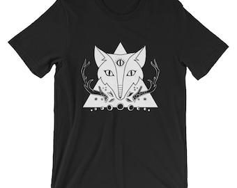 Fox Third Eye Moon Phase T Shirt, Unisex Workout Shirt, Nature Art Clothing TeeShirt
