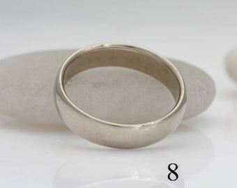 14k palladium white gold band, size 8 and custom sizes, wedding band, #414.