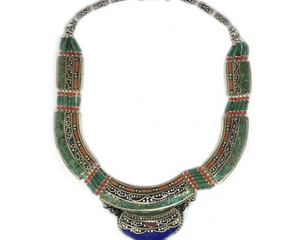 """Hand-Crafted Nepalese Sterling Silver, Lapis Lazuli, African Turquoise and Red Coral 18"""" Medallion Necklace"""