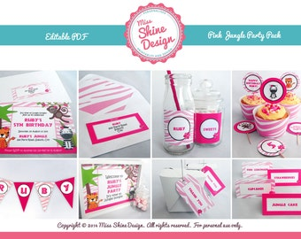 Pink Jungle / Safari Party Pack - Editable Text PDF - INSTANT DOWNLOAD