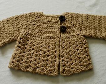 Crocheted Baby Girl's Sweater Beige Tan Light Brown Baby Sweater Brown Baby Sweater Beige Baby Sweater Girl's Sweater