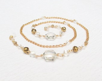 Gold Eyeglass Chain Clear, Gold Beaded Eyeglass Holder Necklace with Clear Crystal, Gold Glasses Chain, Clear and Gold Chain for Glasses