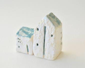 Ceramic Miniature House ~ Ceramic Tiny Houses ~ Tiny House Art ~ Old World Art ~ Ceramic Miniatures ~ Old World Decor ~Tiny House Ceramic