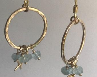Handmade  hammered Goldfill and aquamarine hoop earrings, Aquamarine and starfish earrings, Goldfill hoops