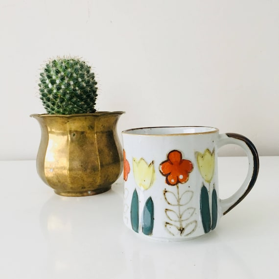 Vintage Orange Flower Stoneware Coffee Mug Yellow Green Floral Ceramic Coffee Cup