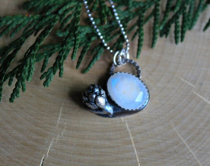 Moonstone and cast succulent necklace