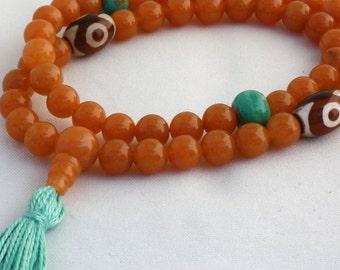 Red Aventurine Half Mala w Tibetan Agate & Real Turquoise - 54 Bead Buddhist and Yoga Prayer Beads