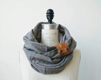 Gray linen circular infinity scarf