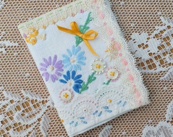 Needlebook made from Vintage Hand Embroidered Cotton Tablecloth