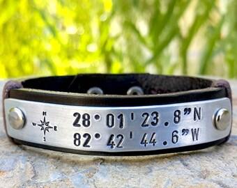 Personalized GPS Coordinates Leather Bracelet, Gift for Mens, Compass Rose, Custom Coordinates Leather Bracelet, Longitude Latitude Jewelry
