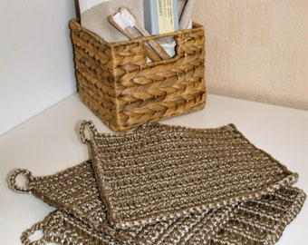 Crochet Dishcloths/ Washcloths Beige Light Brown Handmade Wash Rags Set of 3 Kitchen Bathroom Natural Nordic Minimalist Zero Waste Eco