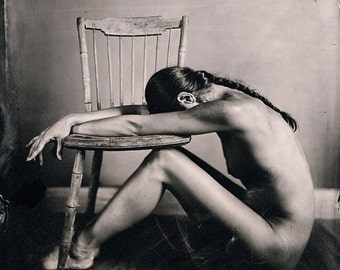 Nude Collodion Photographic Print from a Wet Plate Glass Ambrotype, model with two legged chair