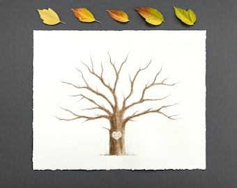 Wedding Tree Guest Book Family Tree Customizable Original Watercolor Painting Thumbprint Tree