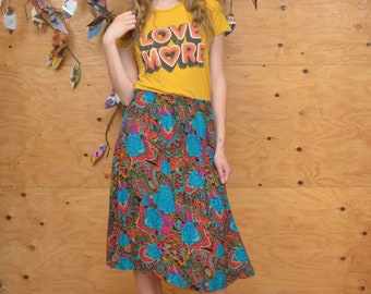 Vintage 80's Midi Length Rayon Teal Print Skirt In Size S/M