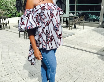 African clothing Ankara Off Shoulder Puffed Sleeve Top