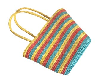 Boho Straw Beach Bag Tote / Jungalow Style Straw Tote Bag / Rainbow Striped Beach Bag / Lined Retro Straw Tote Bag / Bohemian Tote