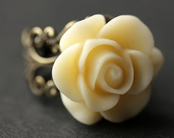 Ivory Rose Ring. Ivory Flower Ring. Gold Ring. Silver Ring. Bronze Ring. Copper Ring. Adjustable Ring. Handmade Jewelry.