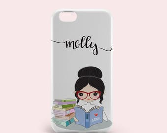 Personalised Case for iPhone 8 iPhone 8 Plus 7 7 Plus iPhone 6 6s Plus 5 5s se Samsung Galaxy S9 S7 S8 Case covervBlack Hair Girl Reading