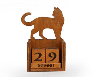Wooden cat calendar