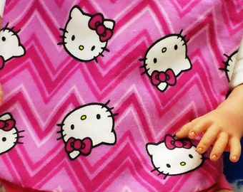 Great Granny's Hand Made Hello Kitty Baby Bib & Burp Cloth Set is Reversible