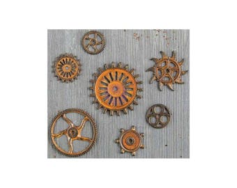Mixed Media Rustic Gears - Metal Embellishments