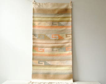 "Vintage Flat Weave Throw Rug, 48"" x 21"""