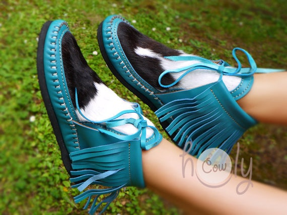 Moccasin Turquoise Moccasins Moccasins Boots Moccasins Hippie Womens With Cowhide Hairy Moccasins Boots Boho Turquoise Leather Cowgirl HYYxqfrwU