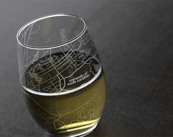 Chapel Hill - UNC - College Town Map Stemless Wine Glass
