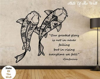 Koi Fish Wall Decal CONFUCIUS QUOTE Sticker Art Decor Bedroom Design Mural  FishVersion 102 Vinyl Goodluck