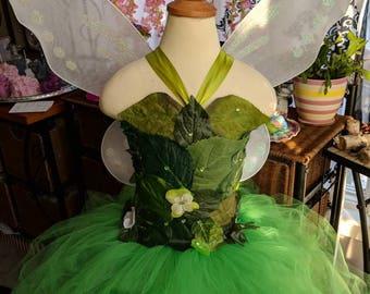 Woodland fairy dress, realistic Tinkerbell fairy costume,Green foliage leaf fairy costume, fairy birthday dress, fairy festival costume