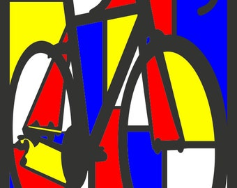 Mondrian Road Bike Art Illustration, Poster, Print, 11x17