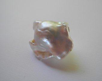 Natural Baroque Pearl White Large Nucleated Flameball  27mm 21mm