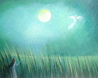 Art acrylic painting. In the Moonlight, original artwork.