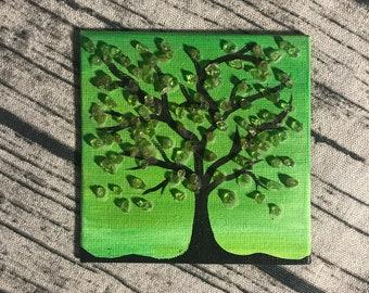 Original tiny small acrylic painting with tree and gemstones crystals peridot