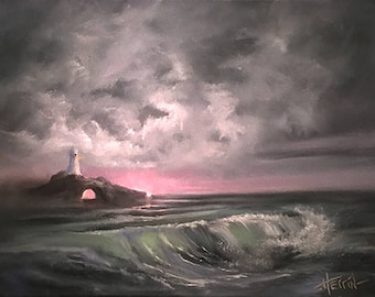"""Small Seascape Painting, Lighthouse Painting, Beach Decor, Lighthouse Decor, Ocean Painting, """"Two Lights At Dawn""""  Original 11x14 Seascape"""