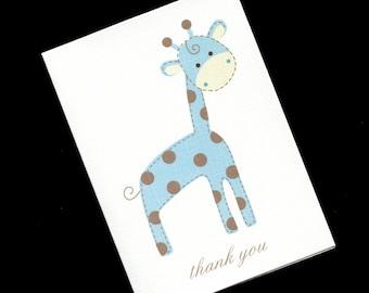 Baby Shower Thank You Cards - Giraffe Thank You Cards - Baby Boy Thank You Cards - Jungle Baby Shower - Blue