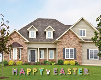 Colorful HAPPY EASTER Yard Sign - Outdoor Easter Decorations - Happy Easter Lawn Decor - Easter Yard Art - Happy Easter Yard Sign Decoration