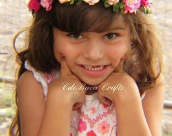Easter Floral Crowns - Easter Flower Crown, Flower Girl Crowns, Baby Photo Prop Crown, Pink Flower Crowns, Fairy Crown, Wedding Floral Crown