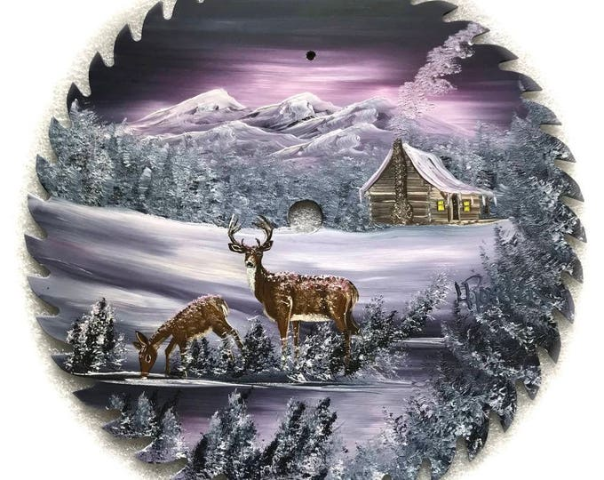 Hand Painted Saw Blade Mauve Deer Mountain Cabin 10 1/4 inch Real Saw Blade