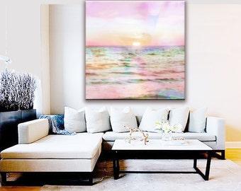 Sunset Canvas Wall Art, Pastel Pink Canvas Wall Art, Pink Ocean Beach Pastel Canvas Art, Pastel Ocean Canvas, Nursery Decor, Nursery Art
